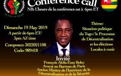 CONFÉRENCE CALL:n diamanche 19 Mai 2019